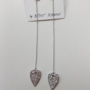 Betsey Johnson New Silver Pave Heart Earrings